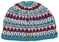 hand knit - multi-patterned beanie - aqua