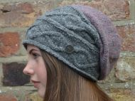 hand knit - fjord slouch - Mid grey/heather