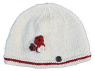 Half fleece lined - three flower beanie - pure wool - ivory