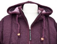 Fleece lined - detachable hood - cable jacket - Aubergine