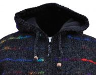 hooded jacket - soft wool and recycled silk - Charcoal
