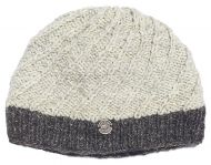 bc5982e209c0f Pure wool - half fleece lined - border beanie - Pale Grey Brown