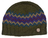 Half fleece lined - zig zag beanie - Green