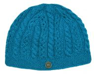 Lace cable beanie - hand knitted - pure wool - turquoise