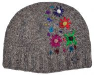 Hand embroidered beanie - marl brown