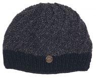 Pure wool - half fleece lined - border beanie - Charcoal Black d9f344a72d6c