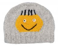 Hand knit   pure wool - face beanie - Sonny