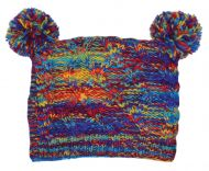 Pure wool - square cable - pom pom hat - Rainbow electric