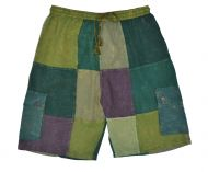 Plain patchwork shorts - greens