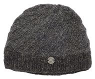 f8a571cc05766 Pure wool - half fleece lined - border beanie - Marl Brown