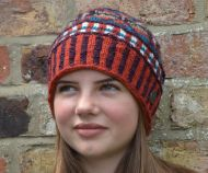 Pure wool hand knit - cosmos beanie - spice