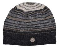 9a38fd777ea Pure wool - half fleece lined - Narrow stripes beanie - Natural greys