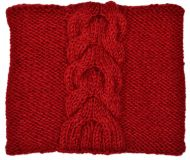 Children's fleece lined - square cable - red
