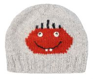 Face beanie - pure wool - hand knitted - fleece lining - Dougal