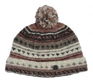 Pattern bobble turn up - hand knitted - pure wool - natural brown / blush
