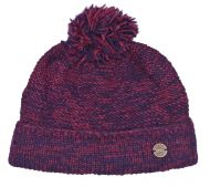 Two tone turn up - bobble hat - blueberry