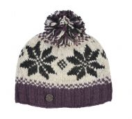 Snowflake bobble hat - pure wool - fleece lining - grape / natural