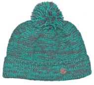 Two tone turn up - bobble hat - ocean/grey