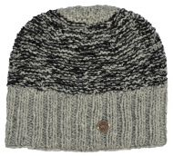 Hand knit - two tone moss - baggy beanie - Pale grey