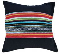 Filled cushion - cotton Gheri Panel - Black