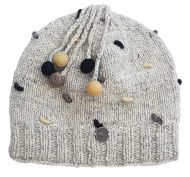 Half fleece lined - pure wool - french knot beanie - Natural