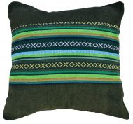 Filled cushion - cotton Gheri Panel - Olive Green