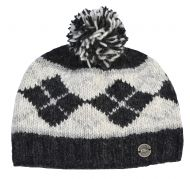 Half fleece lined - Highland bobble hat - Charcoal/grey