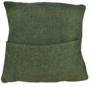 Filled Cushion - Cotton Gheri front - Olive Green