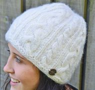 fine wool mix - cable beanie - natural white