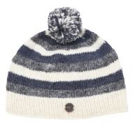 Striped bobble hat - single knit - greys / white