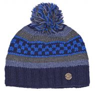 Multi patterned - hand knit - bobble hat - Blues