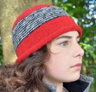 Thin stripes beanie - pure wool - fleece lined - red