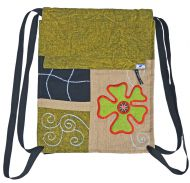 9ea77af947 Hand embroidered - heavy cotton duffle bag - green camel