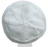 Lace Ridge Beanie - pure wool - fleece lined - white