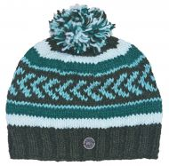 Pattern bobble hat - hand knitted - greens