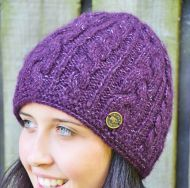 fine wool mix - cable beanie - purple