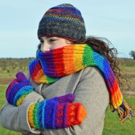 Fleece lined  mittens - patterned -  Rainbow