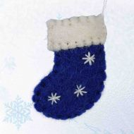 Hand made Felt - Mini Christmas Stocking Decoration - Mini - Red, Blue, Green