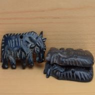 Hand carved - Black Yak - button