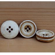 Hand carved - stained bone ridged - button