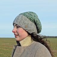 Hand knit - two tone moss - baggy beanie - mid grey/green heather