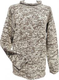 hand knit jumper -  two tone - Marl Brown/cream