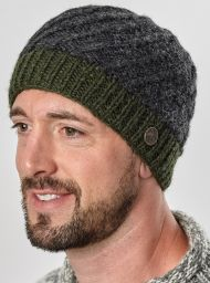 Pure wool - half fleece lined - border beanie - Charcoal/green