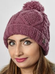 Celtic bobble hat - turn up - mulberry