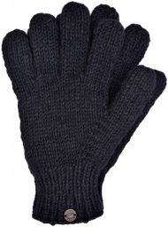 Fleece lined - pure wool gloves - black