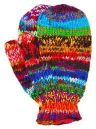Fleece lined mittens - Electric - Rainbow