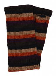 Fleece lined wristwarmer - stripe - Autumn