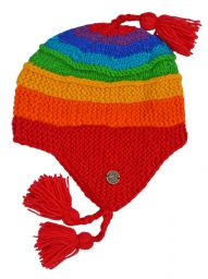 Snowboarder earflap - pure wool - hand knitted - fleece lining - rainbow
