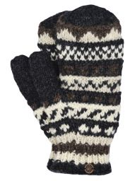 Fleece lined mittens - patterned -  Black/Brown