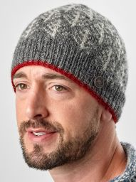 Spruce Beanie - Mid Grey and Red